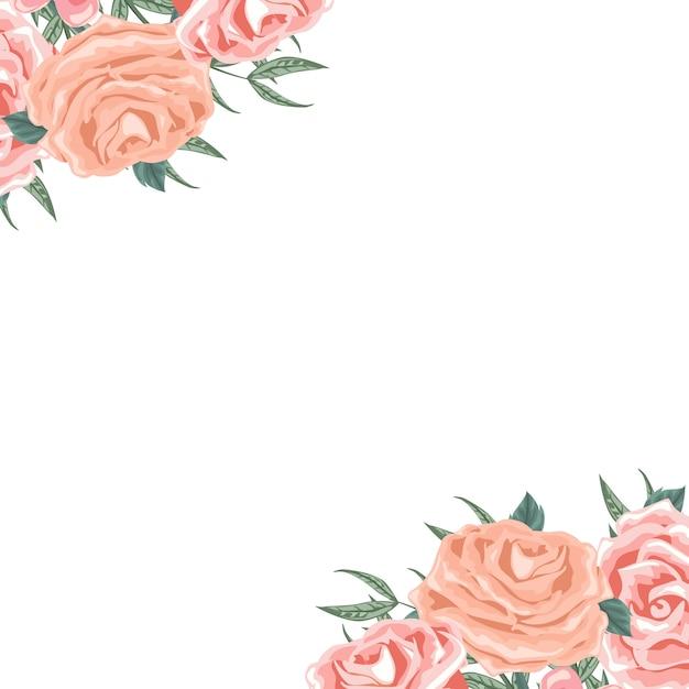 Cartão de arranjo floral lindo nos cantos Vetor Premium