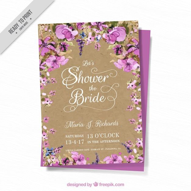 cartão de Bachelorette com flores da aguarela Vetor grátis