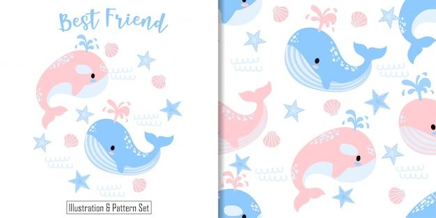 Cartão de baleia bonito mão desenhada sem costura padrão definido Vetor Premium