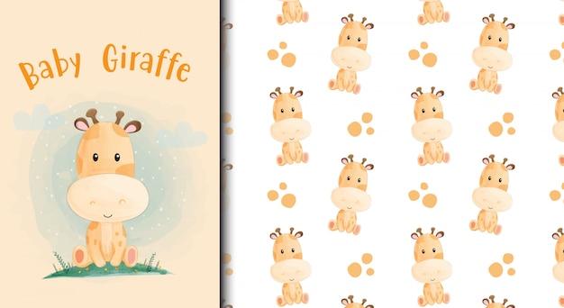 Cartão de bebê girafa dos desenhos animados e padrão sem emenda. Vetor Premium