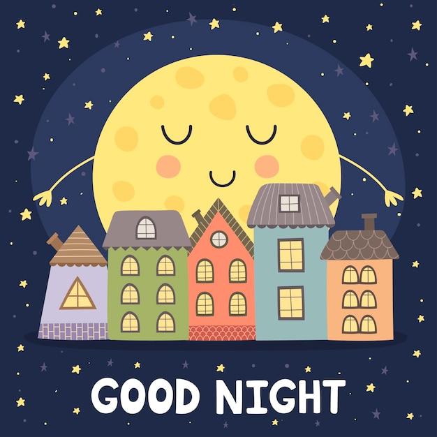 Cartão de boa noite com lua e paisagem da cidade Vetor Premium