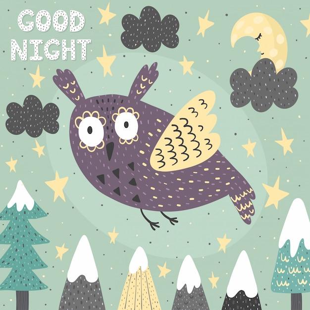 Cartão de boa noite de fantasia com uma coruja bonita. Vetor Premium