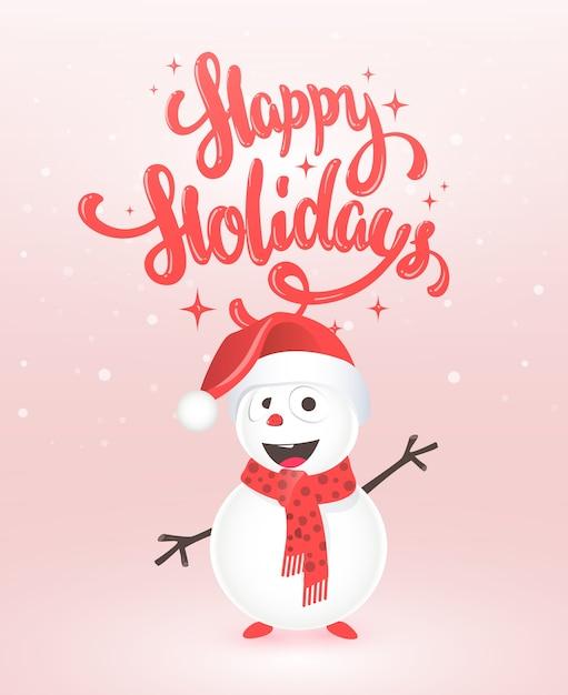 Cartão de boas festas com boneco de neve Vetor Premium