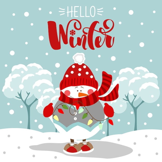 Cartão de boas festas. olá inverno. letras de natal e ano novo. impressão em tecido, papel, cartões postais, convites. Vetor Premium