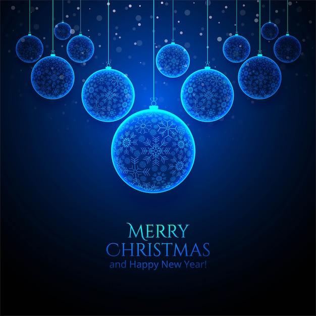 Cartão de bola brilhante floco de neve de natal Vetor grátis