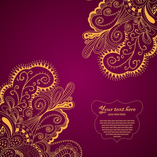 Cartão de borda de elemento decorativo com design de onda e ilustração de tema paisley Vetor grátis