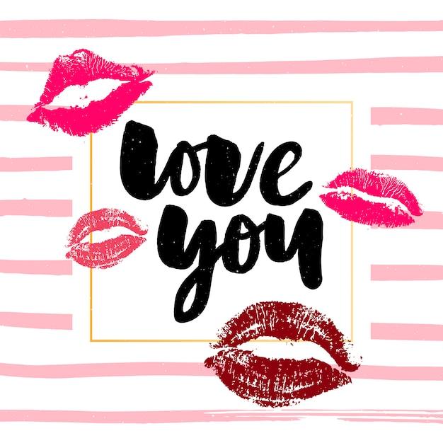 Cartão de brilho de caligrafia de dia dos namorados Vetor Premium