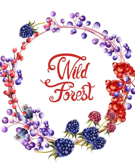 Cartão de buquê de frutas da floresta selvagem Vetor Premium