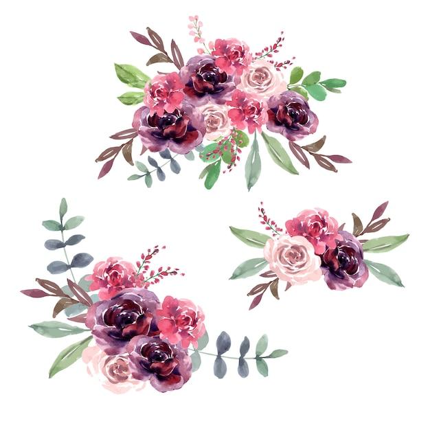 Cartão de buquê para ocasião especial, aquarela criativa Vetor grátis