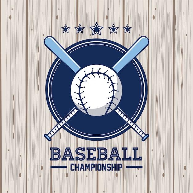 Cartão de campeonato de beisebol Vetor Premium