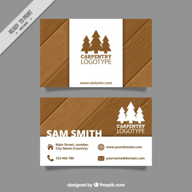 Cartão de carpintaria Vetor grátis