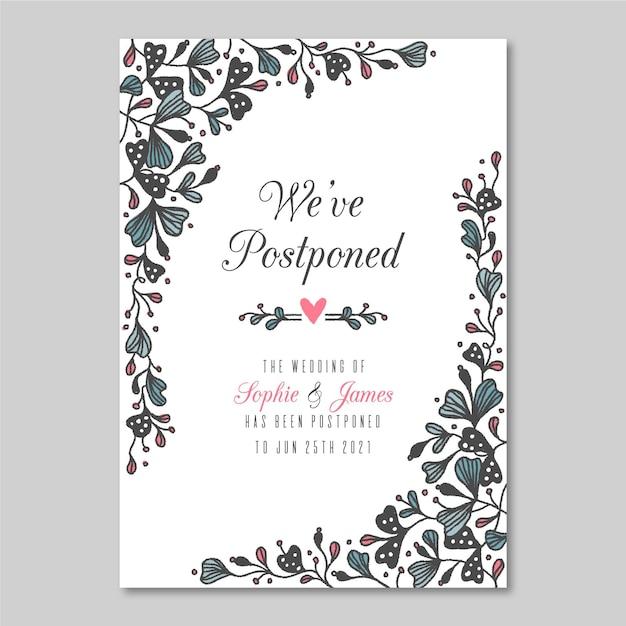 Cartão de casamento adiado mão desenhada Vetor grátis