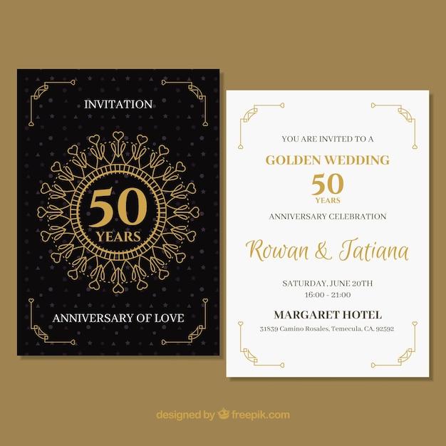 Cartão de casamento anniversaty com ornamentos de ouro Vetor grátis