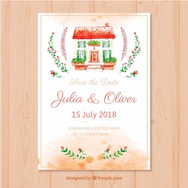 Cartão de casamento aquarela com linda casa Vetor grátis