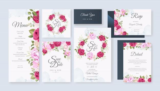 Cartão de casamento bonito com floral e deixa o modelo de plano de fundo Vetor Premium