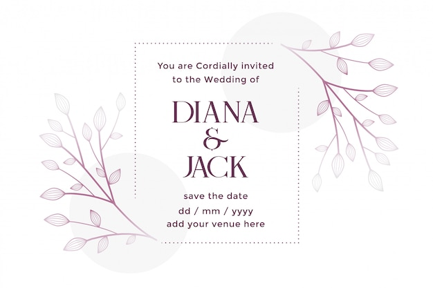 Cartão de casamento branco com decoração floral Vetor grátis