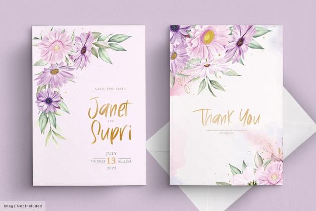 Cartão de casamento com flor de crisântemo macio Vetor grátis