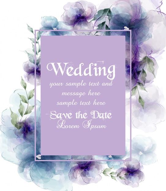Cartão de casamento com flores em aquarela Vetor Premium