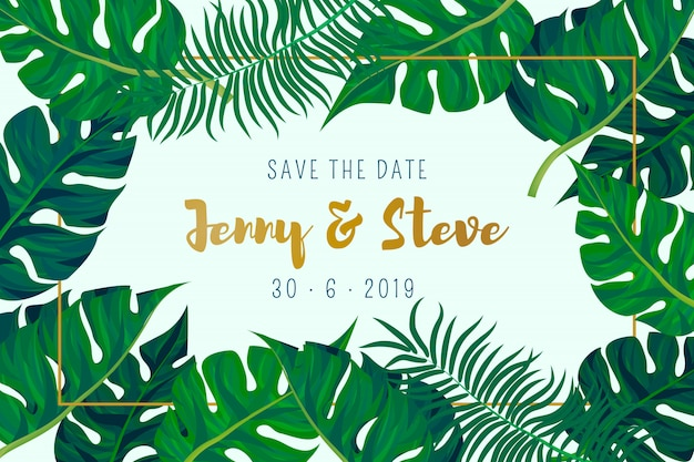 Cartão de casamento com fundo de folhas de palmeira Vetor grátis