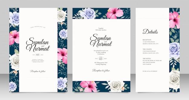 Cartão de casamento conjunto modelo com aquarel floral bonito Vetor Premium