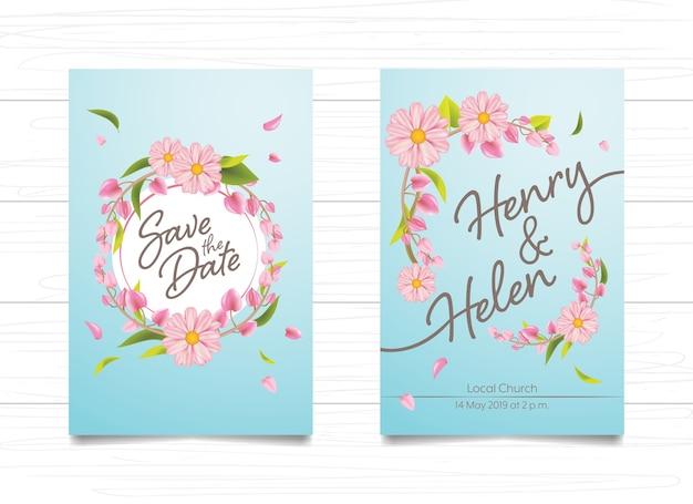 Cartão De Casamento Convite Design Floral Rosa Sobre Fundo Azul