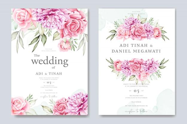 Cartão de casamento da aguarela conjunto modelo com lindas florais e folhas Vetor Premium