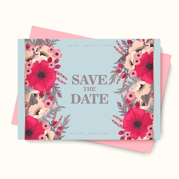 Cartão de casamento da flor - flor do rosa quente Vetor Premium
