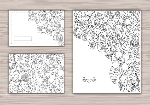 Cartão de casamento de maquete preto e branco com fundo abstrato com desenho de contorno de flores e pássaros. Vetor Premium