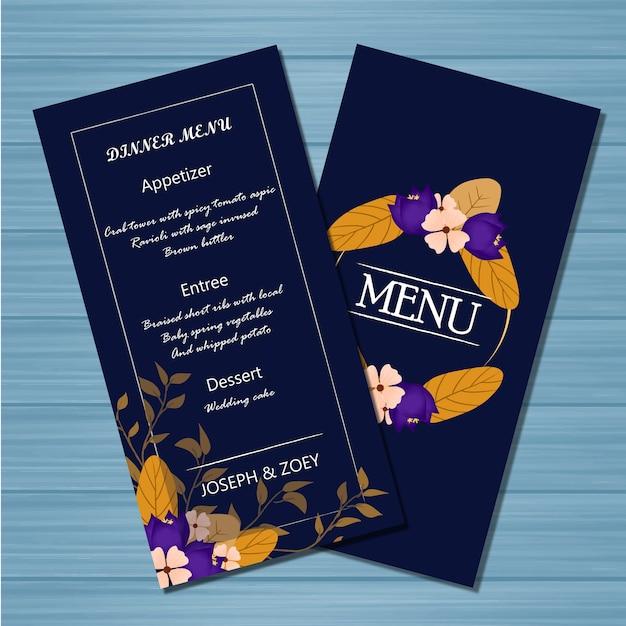 Cartão de casamento de menu floral com flores de outono Vetor Premium