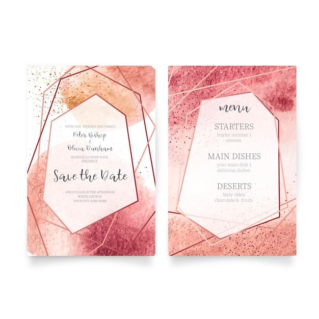 Cartão de casamento e modelo de menu Vetor grátis