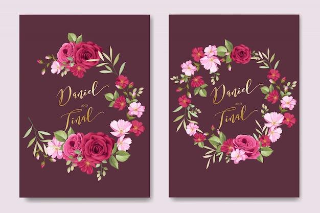 Cartão de casamento elegante com floral e deixa o molde Vetor Premium