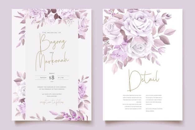 Cartão de casamento elegante com lindo modelo floral e folhas Vetor grátis