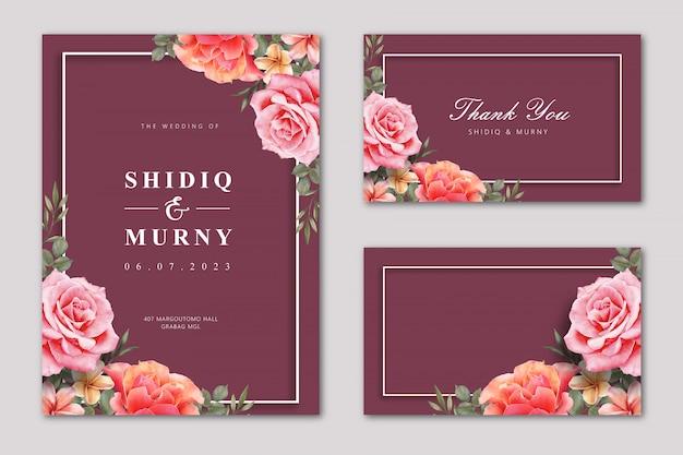 Cartão de casamento elegante definir modelo com flor rosa em fundo de cor marrom Vetor Premium