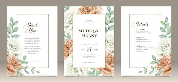 Cartão de casamento feliz cartão de convite de jardim floral casamento, detalhes, obrigado Vetor Premium