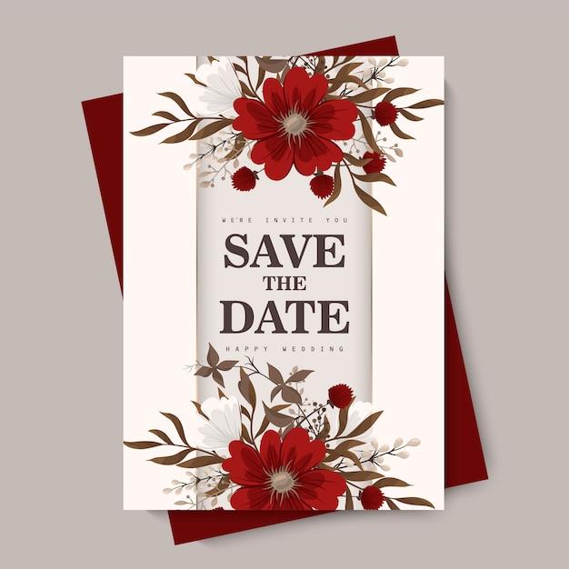Cartão de casamento flor Vetor grátis