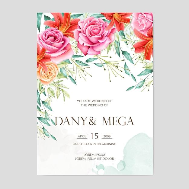 Cartão de casamento floral bonito da aguarela Vetor Premium