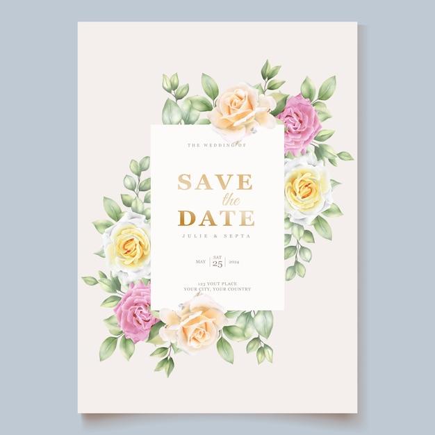 Cartão de casamento floral desenhado à mão elegante Vetor grátis