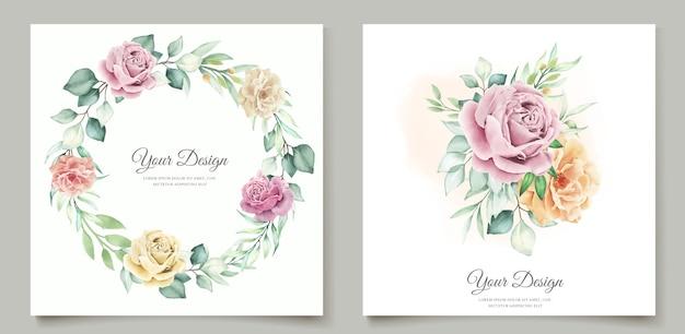 Cartão de casamento floral em aquarela Vetor grátis