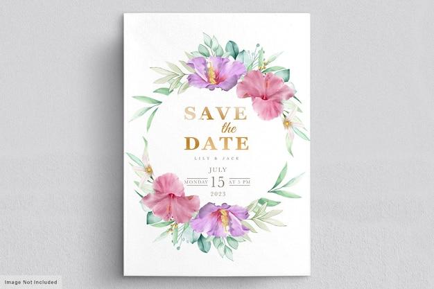 Cartão de casamento floral em flor Vetor grátis