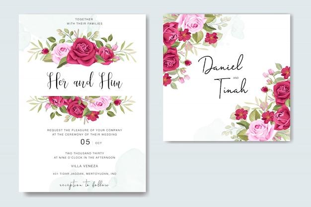 Cartão de casamento floral lindo com modelo de quadro de rosas Vetor Premium