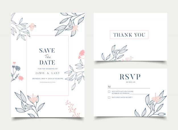 Cartão de casamento floral simples Vetor Premium