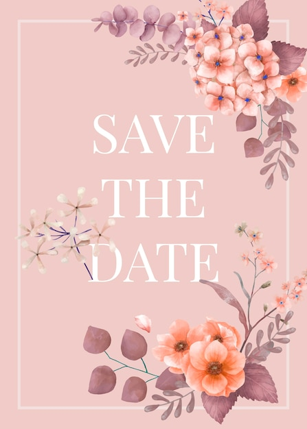 Cartão de casamento floral temático rosa Vetor grátis