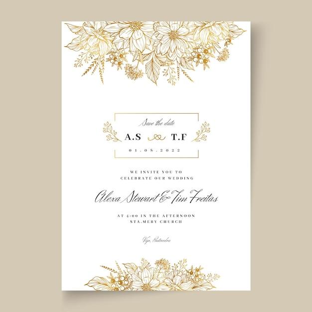 Cartão de casamento floral Vetor Premium
