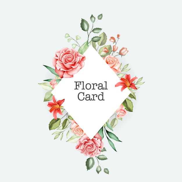 Cartão de casamento lindo com aquarela floral e folhas Vetor Premium