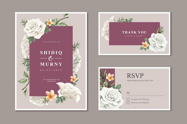 Cartão de casamento lindo com flor rosa branca Vetor Premium