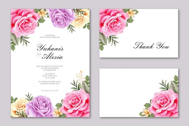 Cartão de casamento lindo com flor rosa colorida Vetor Premium