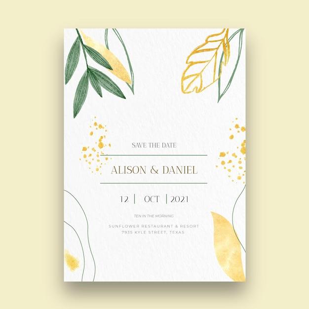 Cartão de casamento mínimo Vetor Premium