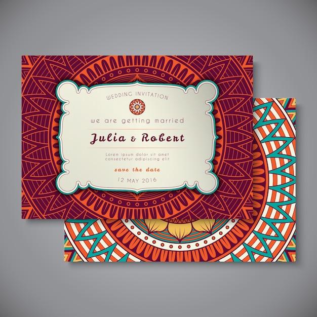 Cartão de casamento ou convite. elementos decorativos vintage. Vetor grátis