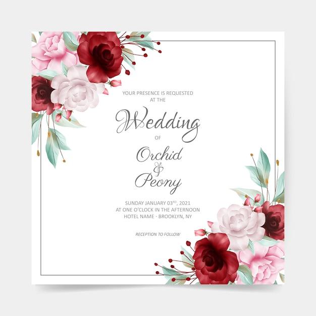 Cartão de casamento quadrado com decoração em aquarela borda floral Vetor Premium