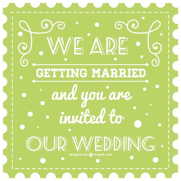 Cartão de casamento retro vector verde Vetor grátis